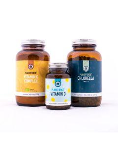 Plantforce - Weerstand Pakket - Vit C Complex - Vit D - Chlorella