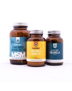Plantforce - Energieke Huid Pakket L - MSM - Vitamine C Complex en Chlorella
