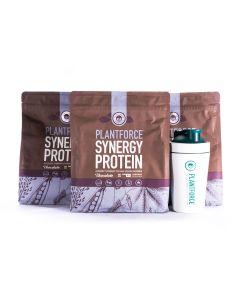 Plantforce - Synergy Proteine Chocolade - 3 x 800 g + Gratis Plantforce Shaker