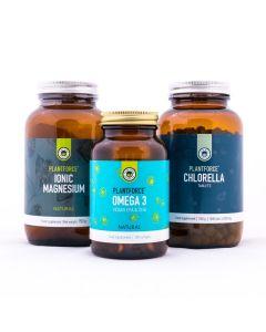 Voel Je Blij Pakket - Plantforce Chlorella - Vegan Omega 3 - Magnesium